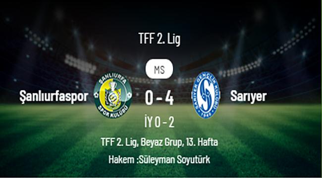 Şanlıurfaspor 0 - 4 Sarıyer