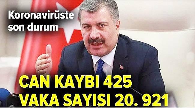 Türkiye'de Koronavirüste Can Kaybı 425, Vaka Sayısı 20 bin 921 Yükseldi