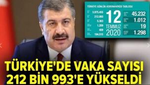 Türkiye'de vaka sayısı 212 bin 993'e yükseldi